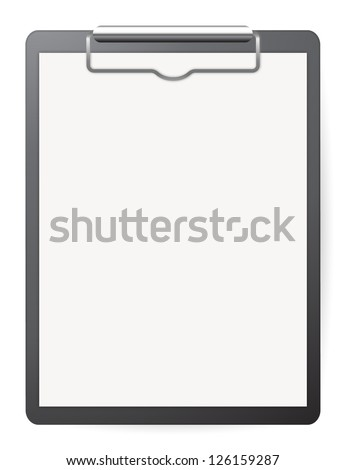 Black record board with white paper on white - stock vector