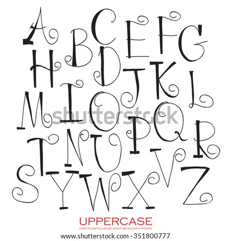 Black red chalk pencil alphabet uppercase letters.Hand drawn written - stock vector