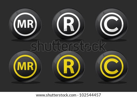 black registred copyright mr icons - stock vector