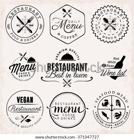 Black Restaurant Menu Badges and Food Design Elements - stock vector