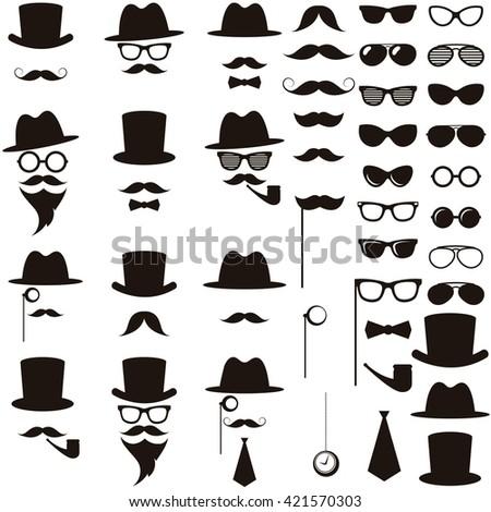 Black retro gentleman icons set - stock vector