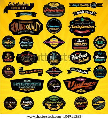 Black Retro Labels Collection. Vector Illustration. - stock vector
