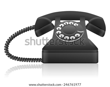 Black retro telephone on a white background. - stock vector