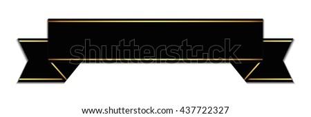 black ribbon - 3d vector - stock vector