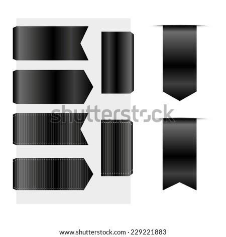 Black Ribbons Set isolated On White Background. Vector Illustration  - stock vector