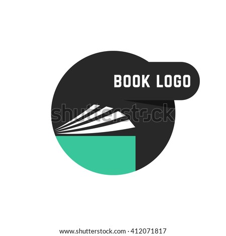black round book logo. concept of scrapbook, e-book, info, pdf, manual, diary, college, paperback, encyclopedia, bookshop. flat style trend modern brand design vector illustration on white background - stock vector
