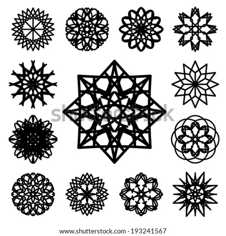 Black round east ornament set. Vector spirographs - stock vector