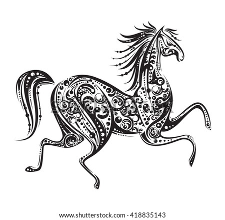 Black running horse made by floral elements on white background. Vector illustration. Works well as a tattoo, icon, emblem, print or mascot. Animal concept. Vintage style - stock vector