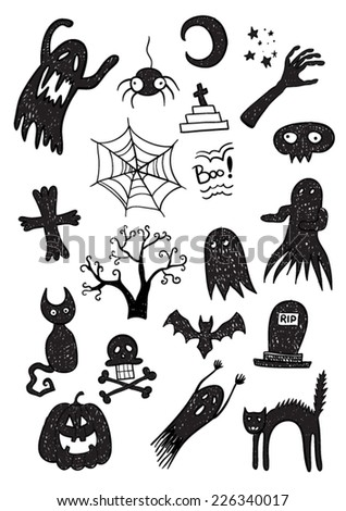 Black Scary Set - stock vector