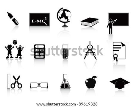 black school icon set - stock vector