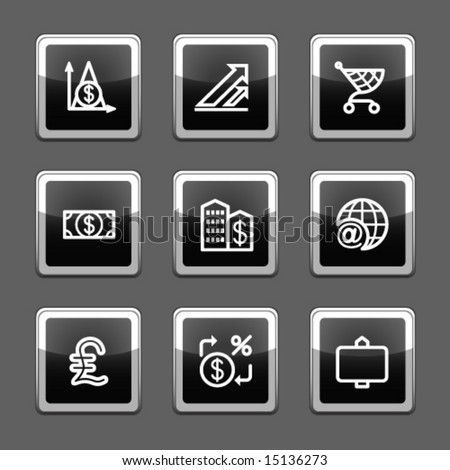 Black screen web icons, set 23 - stock vector