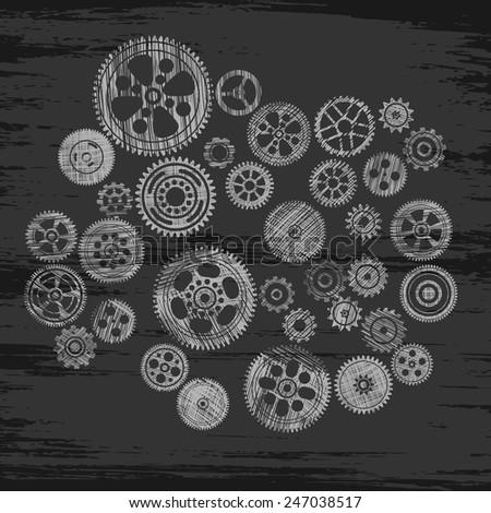 black scribbled cogwheels and gears, vector illustration - stock vector