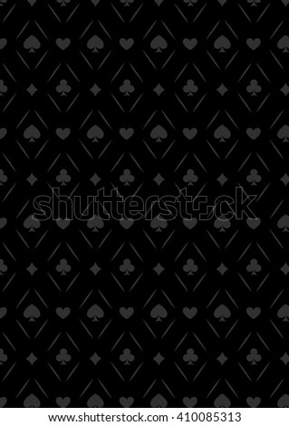 Black seamless casino gambling poker background or dark   pattern and cards symbols. Seamless pattern is in the swatches palette. Casino gambling games background - stock vector