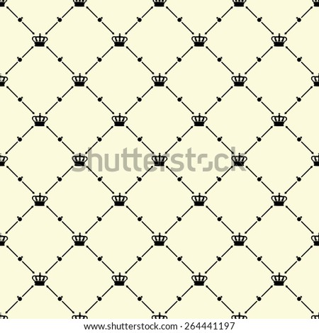 Black seamless pattern with king crown symbol on beige, 10eps. - stock vector