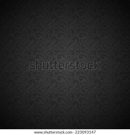 Black seamless retro silk fabric floral ornamental pattern vector illustration - stock vector
