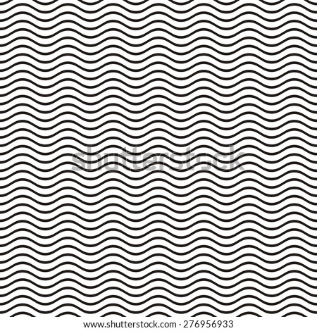 Black seamless wavy line pattern vector illustration - stock vector