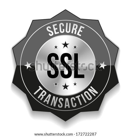 Black secure transaction badge - stock vector