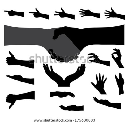 Black Set of Hand. Vector Illustration - stock vector