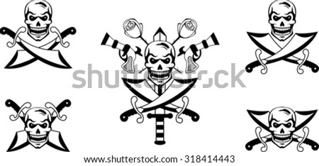 Black set of pirate emblems with skulls and swords - stock vector