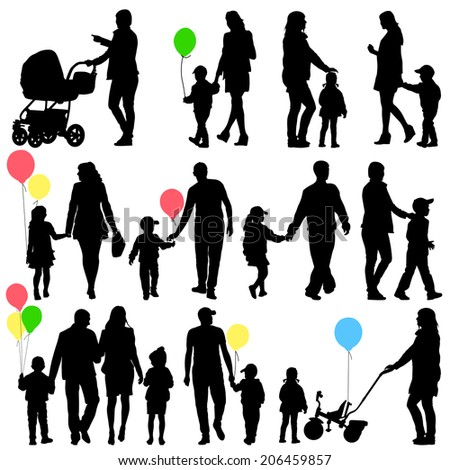 Black set of silhouettes of parents and children on white background. Vector illustration. - stock vector