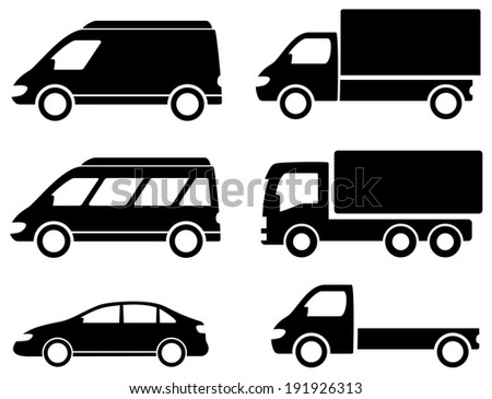 black set transport icons on white backdrop - stock vector