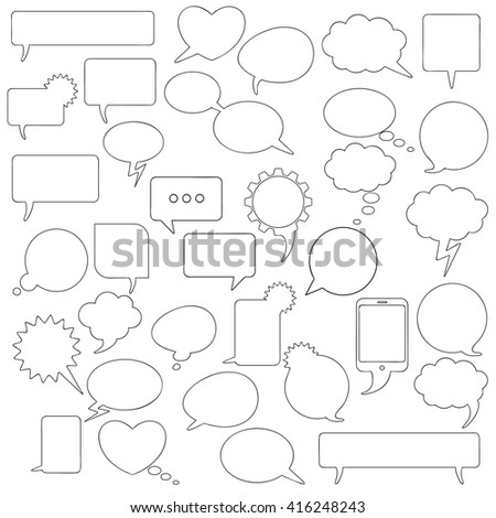 Black shapes communication bubbles on the white background. Eps 10 vector file. - stock vector
