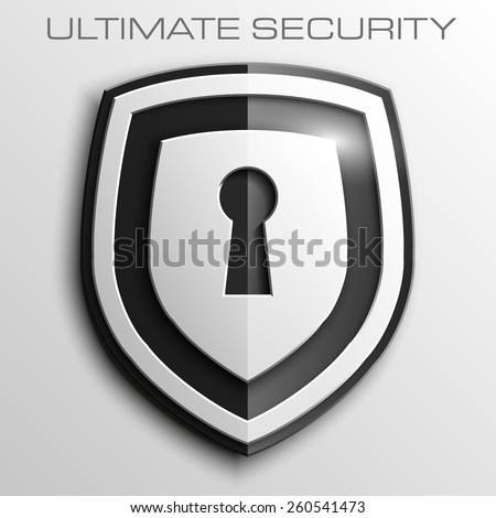 Black shield with keyhole isolated on white background. Security vector sign - stock vector