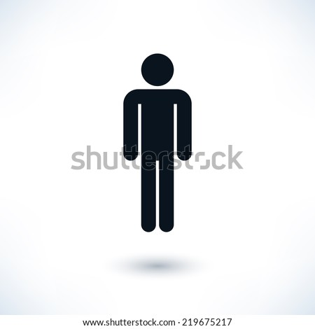 Black sign man stands. Simple information symbol with gray drop shadow isolated on white background in flat style. Graphic design elements save in vector illustration 8 eps - stock vector
