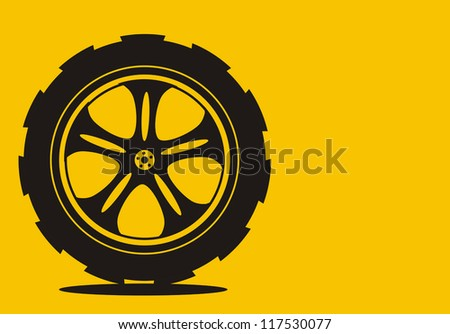 black  silhouette: automotive wheel with alloy wheels and tires - stock vector