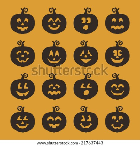 Black Silhouette Jack-O-Lantern Pumpkins with Various Facial Expressions - stock vector