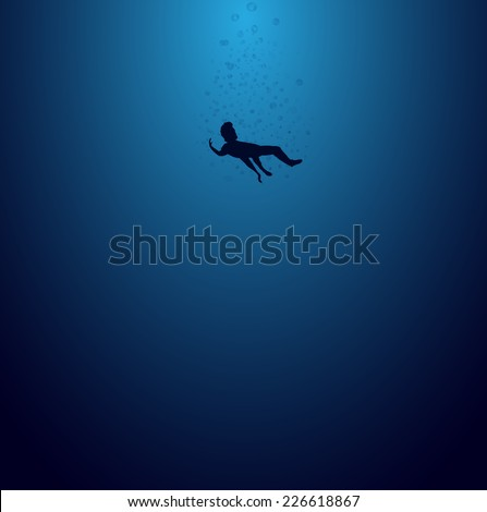 Black silhouette man is sinking down into the deep blue sea (EPS10 Art vector) - stock vector