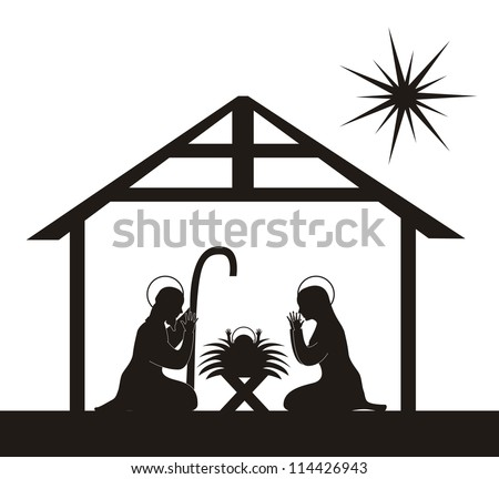 black silhouette nativity scene isolated. vector illustration - stock vector