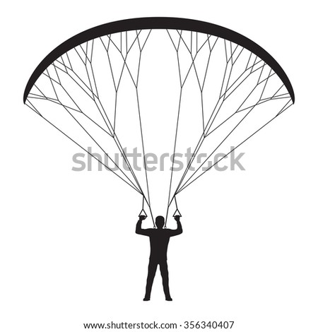 Black silhouette of a man with a paraglider. Paraglider. Paraplane. Kite.  - stock vector