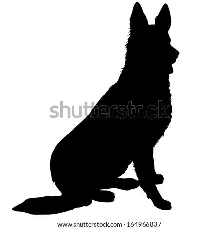 Black silhouette of a sitting German Shepherd  - stock vector