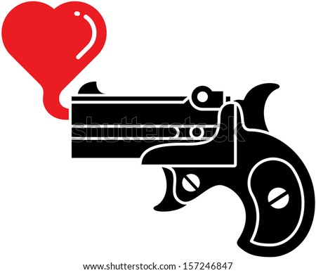 Black silhouette of a stylish black pistol which is blowing a red bubble heart instead of shooting bullets - stock vector