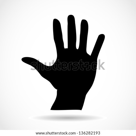 Black silhouette of an open palm isolated vector - stock vector
