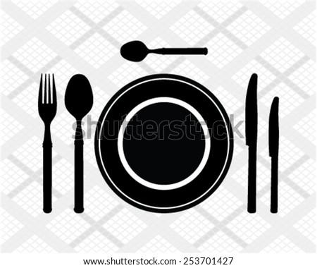 Black silhouette of cutlery, vector - stock vector