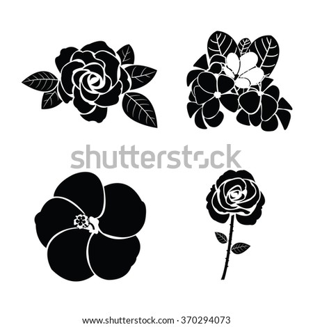 Black silhouette of flower set - stock vector
