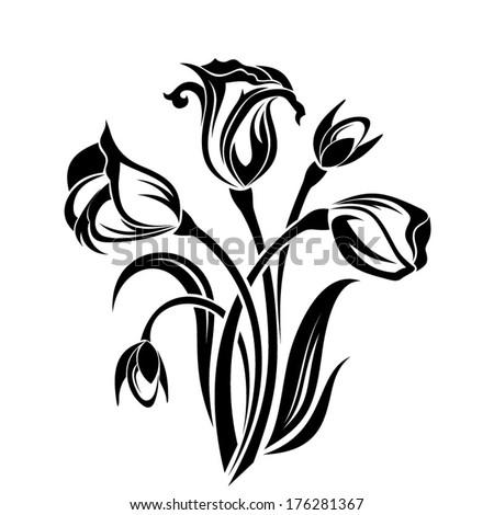 Black silhouette of flowers. Vector illustration. - stock vector