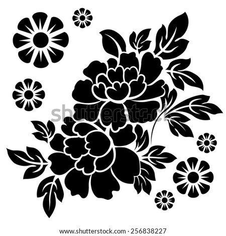 Black silhouette of flowers. Vector illustration. - stock vector