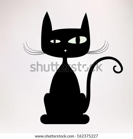 Black silhouette of freaky cat. Vector illustration. - stock vector