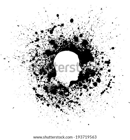 Black silhouette of man head with white ink blots. eps10 - stock vector