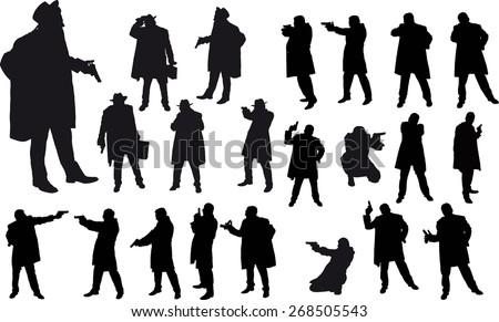 Black silhouette of man with gun and and hat - stock vector