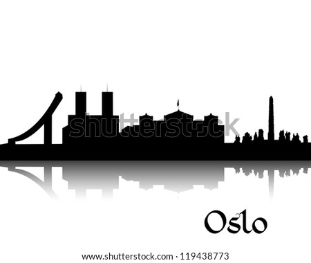 Black silhouette of Oslo the capital of Norway - stock vector