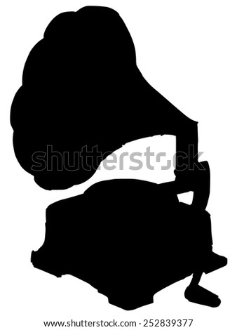 black silhouette of phonograph - stock vector