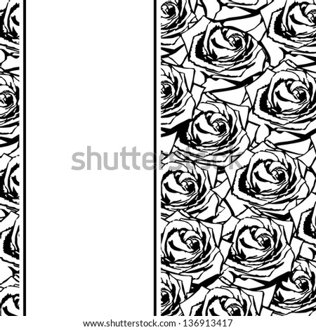 Black silhouette of rose with leaves. - stock vector
