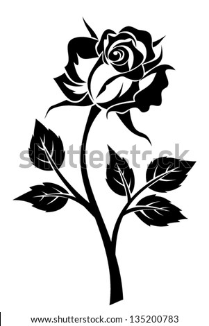 Black silhouette of rose with stem. Vector illustration. - stock vector