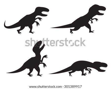 Black Silhouette of T-rex and Velociraptor in movement, angry,run, roar and hunting - stock vector