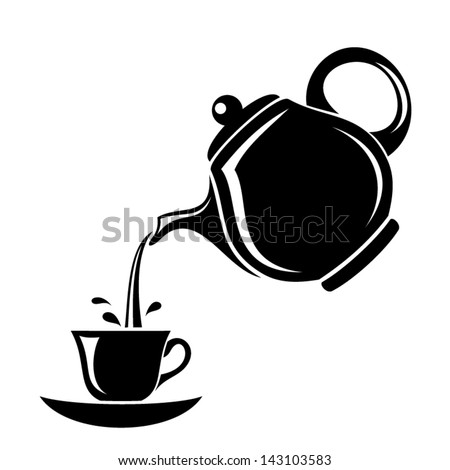 Black silhouette of teapot and cup. Vector illustration. - stock vector