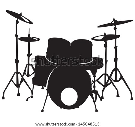 Black silhouette of the drum White Drum Set Silhouette